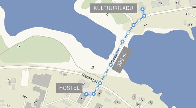 Kultuurilaost on hostelini 300 meetrit